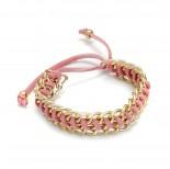 Zdjęcie - Różowa bransoletka pancerka oplątana rzemieniem 18-21cm