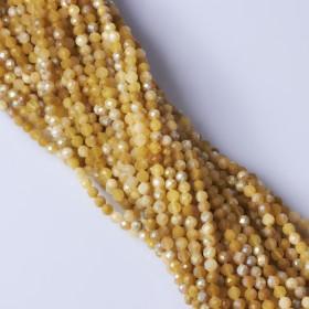Zdjęcie - Opal żółty kulka fasetowana platerowana 4mm