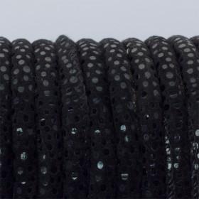 Zdjęcie - Rzemień szyty czarny w cętki 6mm