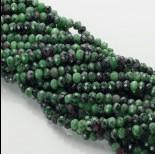 Zdjęcie - Zoisyt z rubinem oponka fasetowana zielona 6x8mm