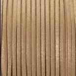 Zdjęcie - Rzemień zamszowy płaski złoty z drobinkami 1x2.5mm
