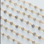 Zdjęcie - Łańcuch srebrny ag925 pozłacany z labradorytem platerowanym fasetowanym 4x2.5mm