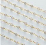Zdjęcie - Łańcuch srebrny ag925 pozłacany z labradorytem fasetowanym 3mm
