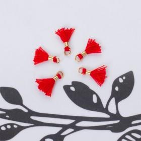 Zdjęcie - Mini chwosty w złotym okuciu czerwony 10mm