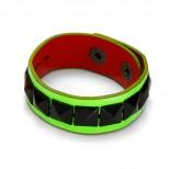 Fluorescencyjny zielony bransoletka czarne piramidki 18-21cm