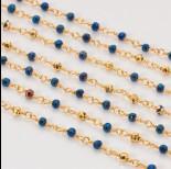 Zdjęcie - Łańcuch z kryształkami oponkami metallic blue with gold 3x4mm