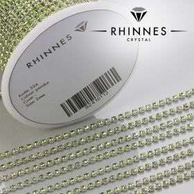 Zdjęcie - Taśma z kryształkami kolor srebrny peridot 2mm