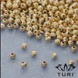 Zdjęcie - Koralik z prążkami w złotym kolorze 3mm