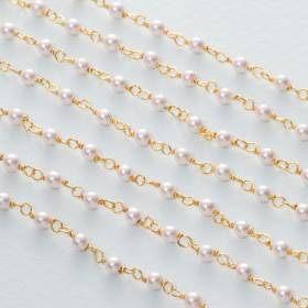 Zdjęcie - Łańcuch srebrny ag925 pozłacany z perłą majorka  3mm