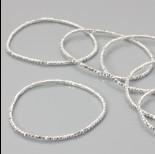 Zdjęcie - Bransoletka z kryształkami metal silver 18-21cm