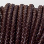 Zdjęcie - Rzemień naturalny pleciony lakierowany 6mm ciemny brązowy