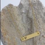 Zdjęcie - Zawieszka celebrytka prostokąt z sercem złoty 30x55mm