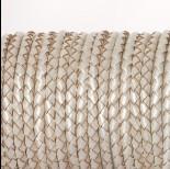 Zdjęcie - Rzemień naturalny pleciony metalizowany perłowy 4mm