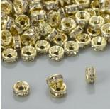 Zdjęcie - Przekładki rondelki z kryształkami crystal real gold color 6mm