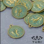 Zdjęcie - Zawieszka moneta Elżbieta II w złotym kolorze z patyną 23x19 mm