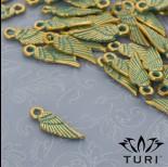Zdjęcie - Zawieszka skrzydło patyna w kolorze złotym 18x6 mm