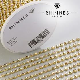 Zdjęcie - Taśma z kryształkami kolor złoty crystal AB 3mm