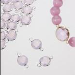 Zdjęcie - Przekładka w okuciu w srebrnym kolorze z dwoma oczkami opal rose 10mm