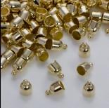 Okrągłe końcówki do rzemieni i sznurków w złotym kolorze 6,5mm