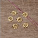 Zdjęcie - Srebrny, pozłacany ażurowy łącznik mandala, próba Ag925 12,5mm