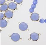 Zdjęcie - Przekładka w okuciu w złotym kolorze z dwoma oczkami opal blue 14mm