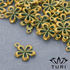 Zdjęcie - Zawieszka ażurowy kwiatek w kolorze złotym z patyną 18 x 15 mm