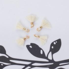 Zdjęcie - Mini chwosty w złotym okuciu ecru 10mm