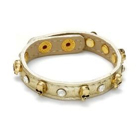 Zdjęcie - Bransoletka czaszki z kryształkami w kolorze złota 18-21cm