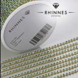 Zdjęcie - Taśma z kryształkami kolor złoty aquamarine 2mm