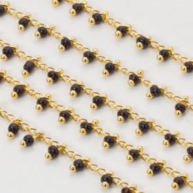 Zdjęcie - Łańcuch z koralikami jet 2.5x1.5 mm