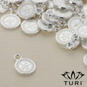 Zdjęcie - Zawieszka monetka ze wzorkiem w srebrnym kolorze 10.5mm
