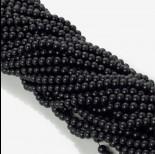 Zdjęcie - Koraliki szklane powlekane satynowe czarne 6mm