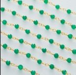 Zdjęcie - Łańcuch srebrny ag925 pozłacany z zielonym onyksem fasetowanym 3mm
