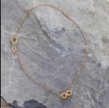 Zdjęcie - Srebrna bransoletka simple ze znakiem nieskończoności Ag925 pozłacana 18.6cm
