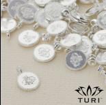 Zdjęcie - Zawieszka monetka z wzorkiem w srebrnym kolorze 7.5mm