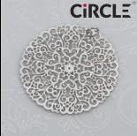 Zawieszka okrągła ażurowa ornament mandala stal chirurgiczna z kółeczkiem  30mm