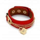Zdjęcie - Czerwona bransoletka łańcuszki z kłódkami 18-21cm