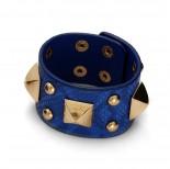 Zdjęcie - Niebieska bransoletka duże piramidki z kuleczkami na skórce wężowej 18-21cm