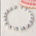 Zdjęcie - Perły majorka kulki miksowane srebrno-białe 37cm