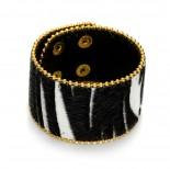 Zdjęcie - Czarno biała bransoletka zebra włochata 18-21cm