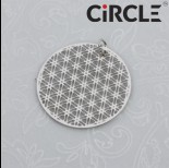 Zdjęcie - Zawieszka okrągła geometryczna siateczka stal chirurgiczna z kółeczkiem 25mm