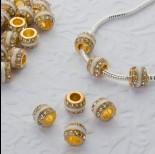 Zdjęcie - Koralik w złotym kolorze emaliowany z kryształkami crystal 5mm