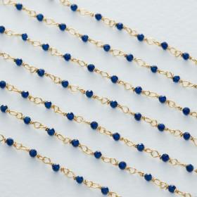 Zdjęcie - Łańcuch srebrny ag925 pozłacany ze spinelem niebieskim fasetowanym 2mm