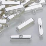 Zdjęcie - Szeroka końcówka do wielu rzemieni w srebrnym kolorze 37,5x7,5mm