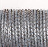 Zdjęcie - Rzemień naturalny pleciony metalizowany srebrny 4mm
