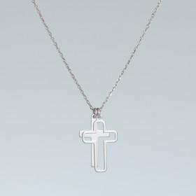 Zdjęcie - Naszyjnik rodowany z dwoma krzyżami AG925 45 cm