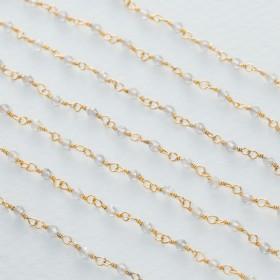 Zdjęcie - Łańcuch srebrny ag925 pozłacany z labradorytem fasetowanym 2x1.5mm