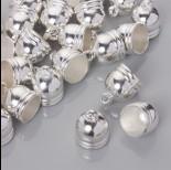 Zdjęcie - Końcówki do rzemieni i sznurków beczułki w srebrnym kolorze 15.5mm
