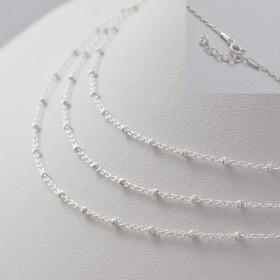 Zdjęcie - Gotowy łańcuszek ozdobny z oponkami diamentowanymi AG925 45cm