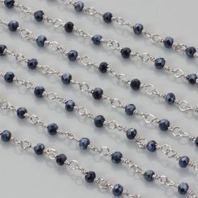 Zdjęcie - Łańcuch z kryształkami oponkami blue hematite 3x4mm